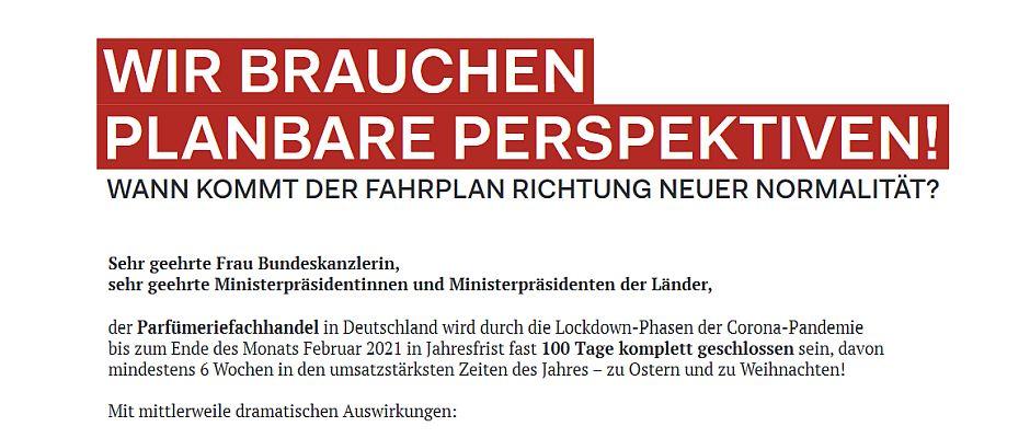 Offener Brief von Parfümerieverband und VKE an Bundeskanzlerin und Ministerpräsidenten